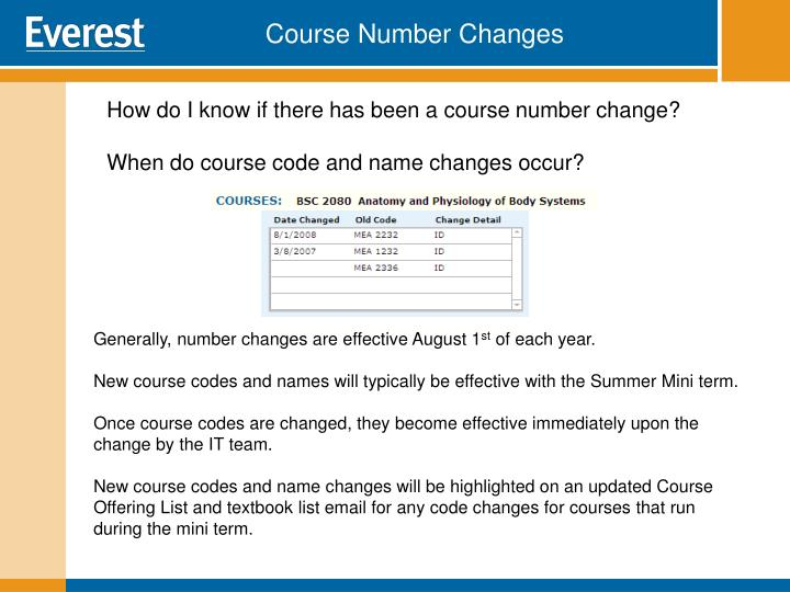 Course Number Changes