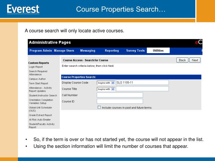 Course Properties Search…
