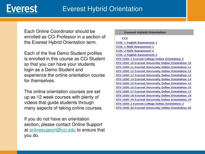 Everest Hybrid Orientation