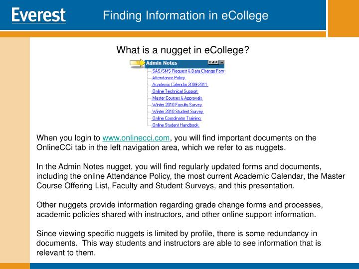 Finding Information in eCollege