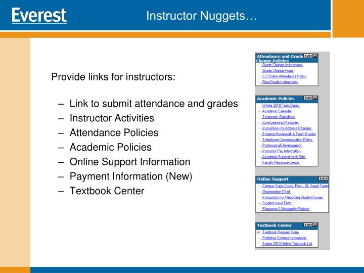 Provide links for instructors: