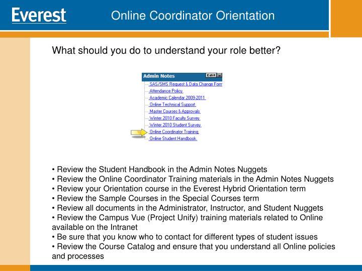 Online Coordinator Orientation