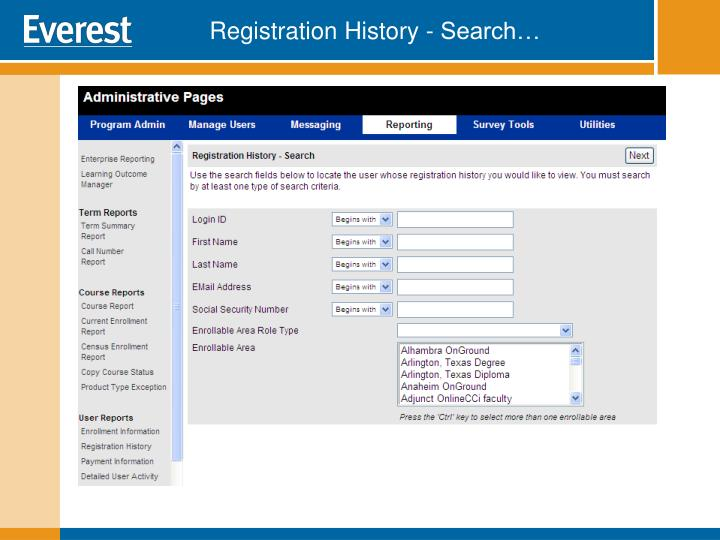 Registration History - Search…