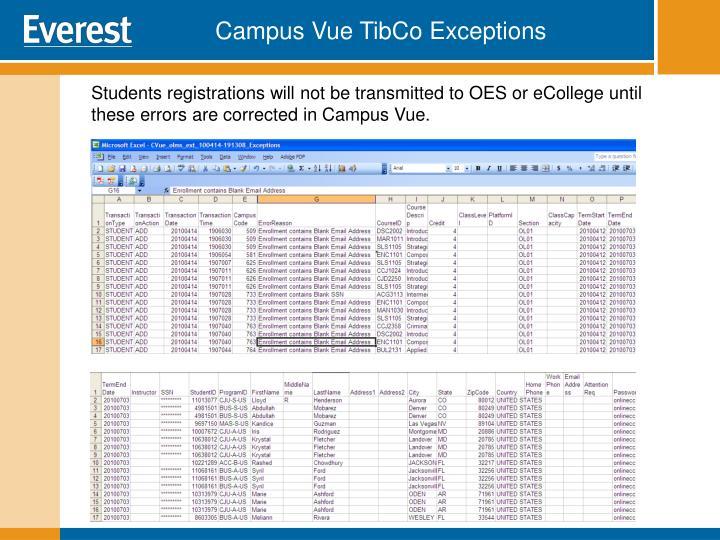 Campus Vue TibCo Exceptions