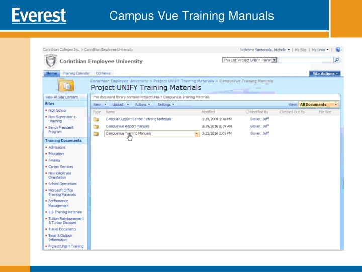 Campus Vue Training Manuals