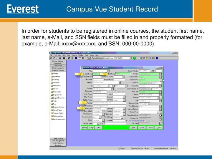 Campus Vue Student Record