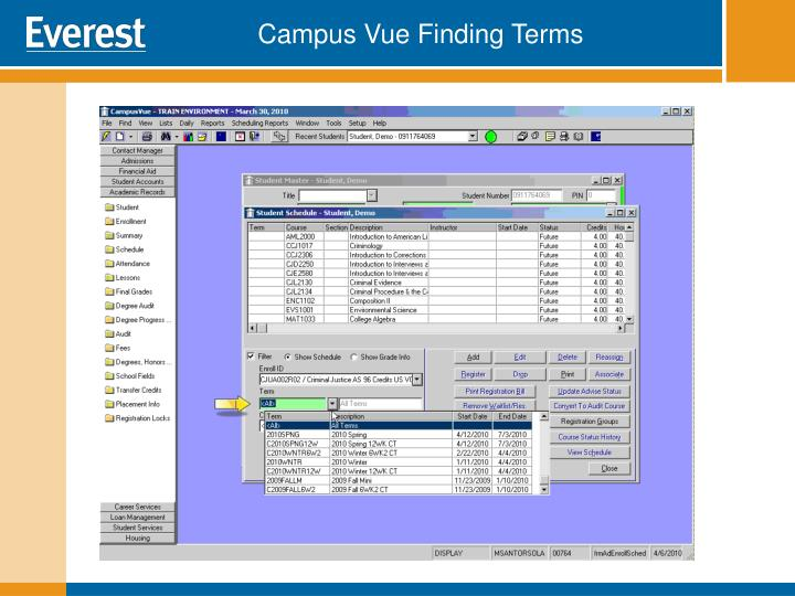 Campus Vue Finding Terms