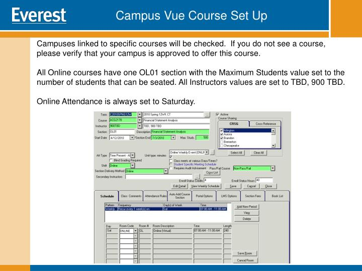 Campus Vue Course Set Up