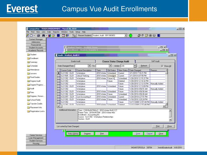 Campus Vue Audit Enrollments