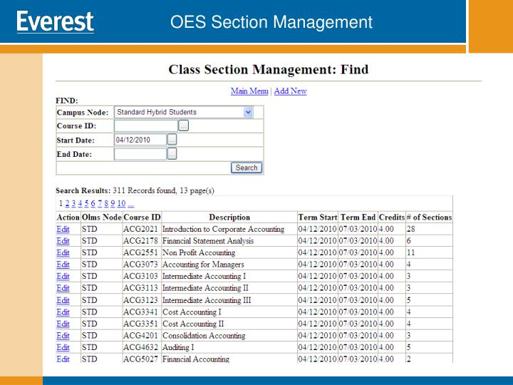 OES Section Management