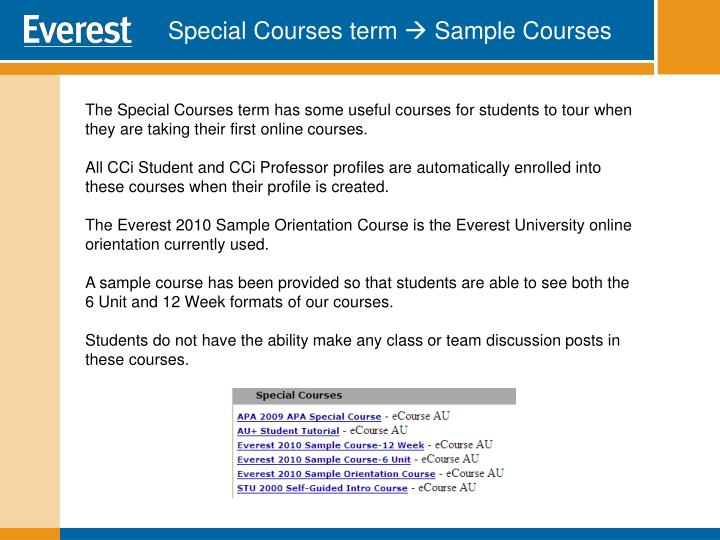 Special Courses term