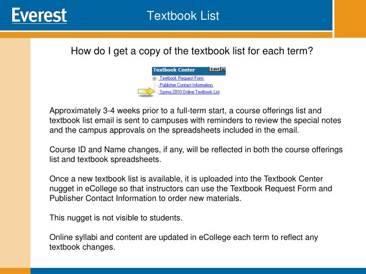 Textbook List