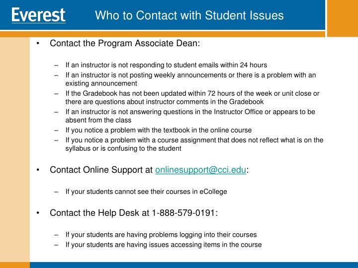 Contact the Program Associate Dean:
