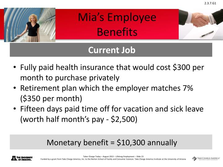 Mia's Employee Benefits