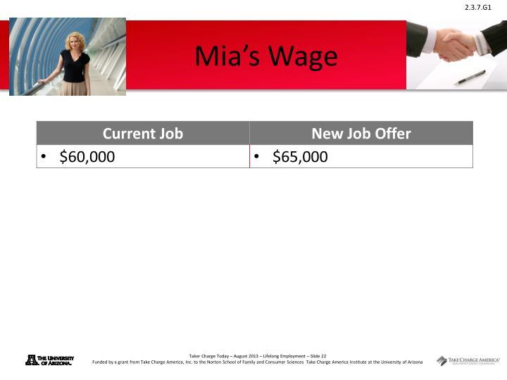 Mia's Wage