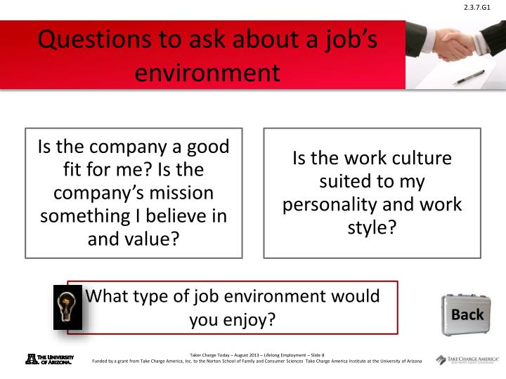 Questions to ask about a job's environment