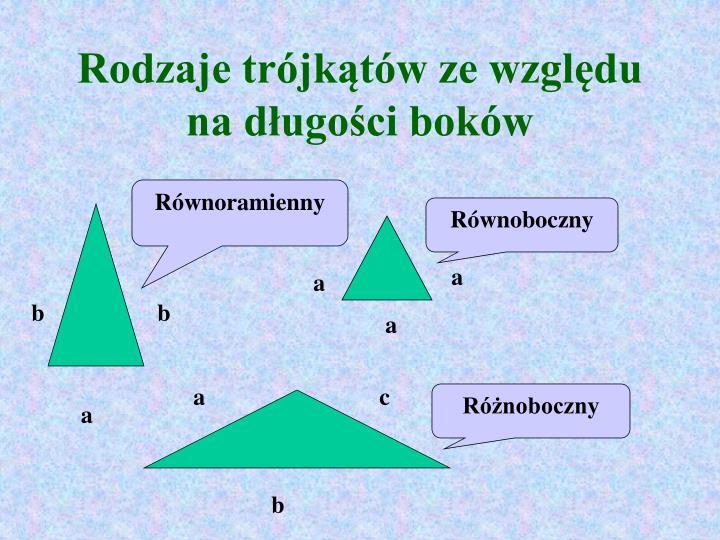 Rodzaje trójkątów ze względu na długości boków
