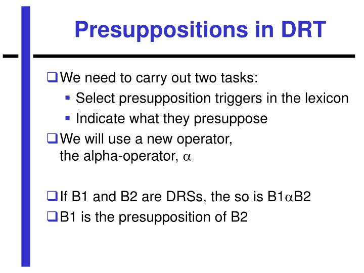 Presuppositions in DRT