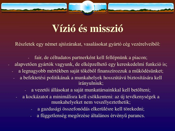 Vízió és misszió