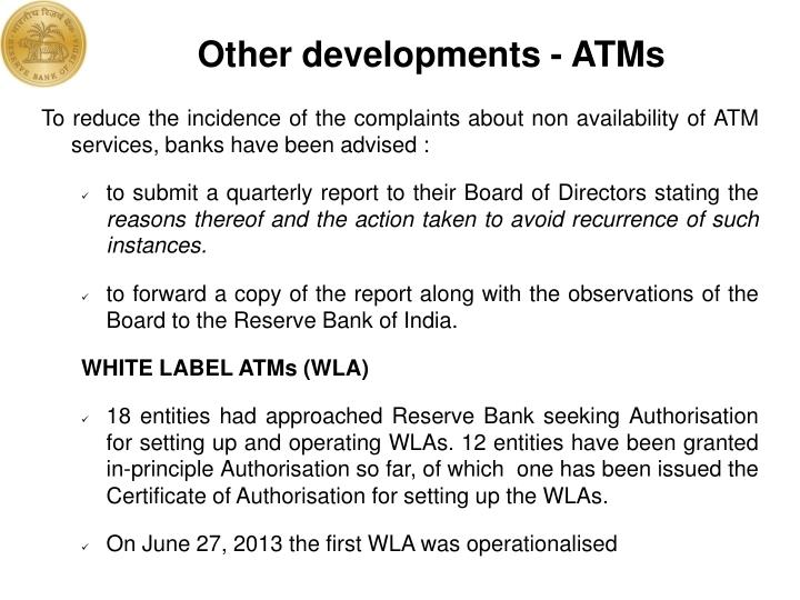 Other developments - ATMs