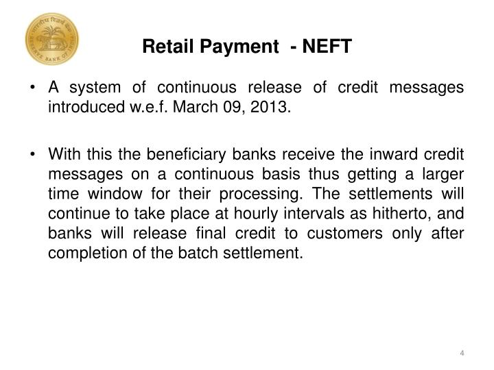 Retail Payment  - NEFT