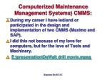 computerized maintenance management systems cmms