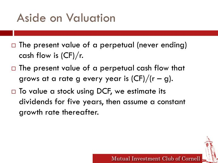 Aside on Valuation