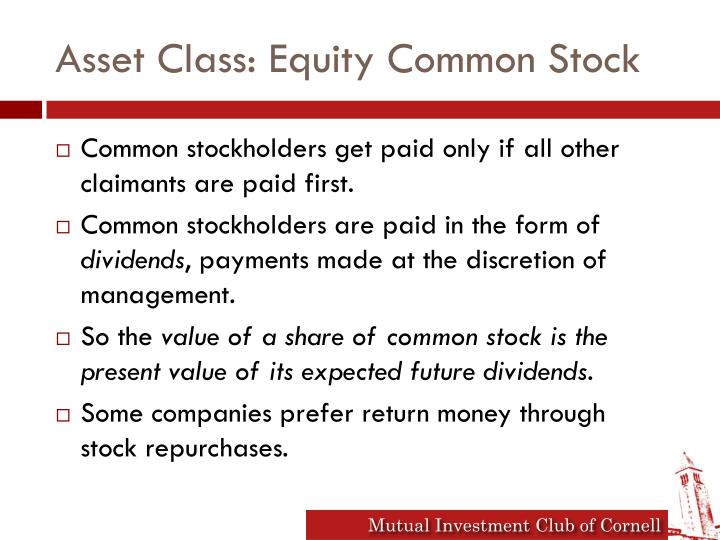 Asset Class: Equity Common Stock
