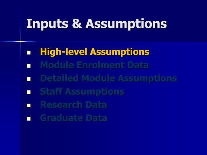 Inputs & Assumptions