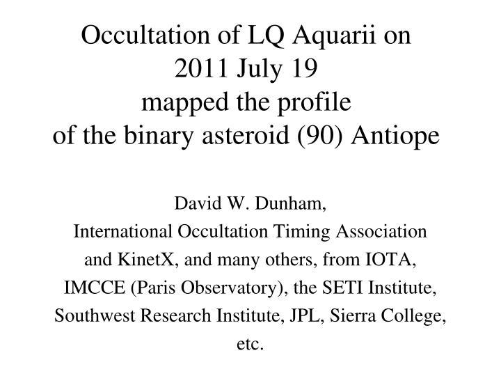 Occultation of LQ Aquarii on