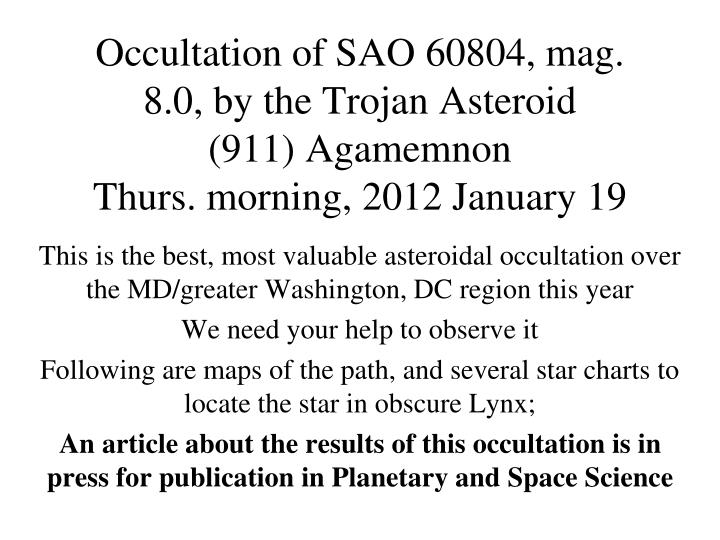 Occultation of SAO 60804, mag. 8.0, by the Trojan Asteroid