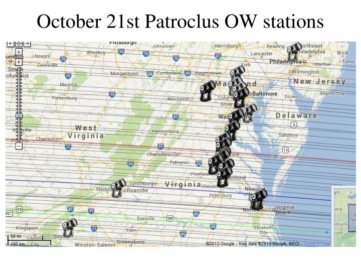October 21st Patroclus OW stations