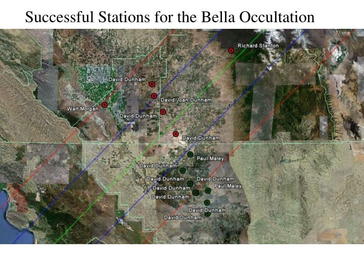 Successful Stations for the Bella Occultation
