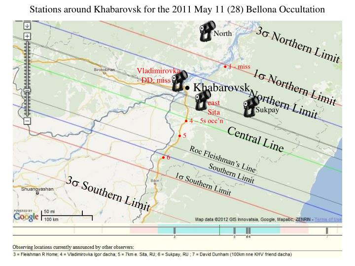 Stations around Khabarovsk for the 2011 May 11 (28) Bellona Occultation