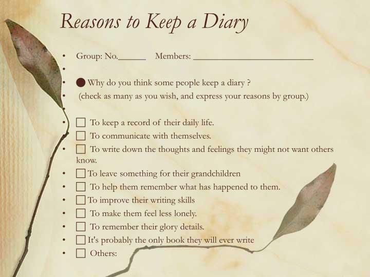 Reasons to Keep a Diary