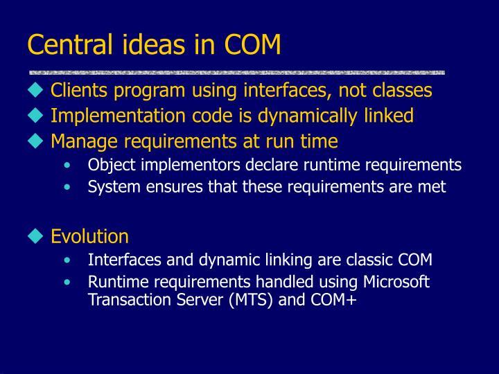 Central ideas in COM