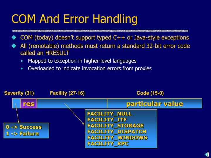 COM And Error Handling