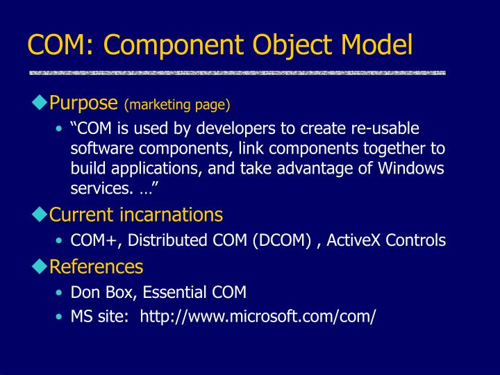 COM: Component Object Model