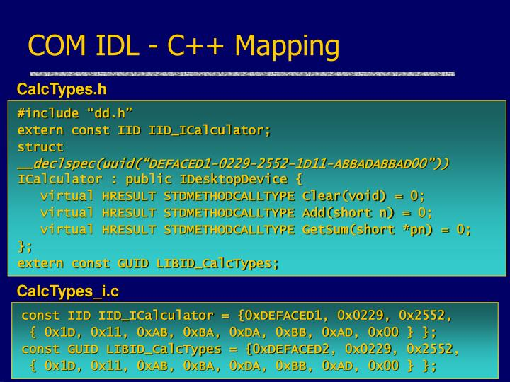 COM IDL - C++ Mapping