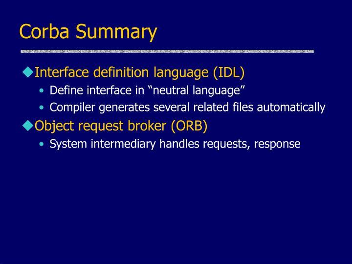 Corba Summary