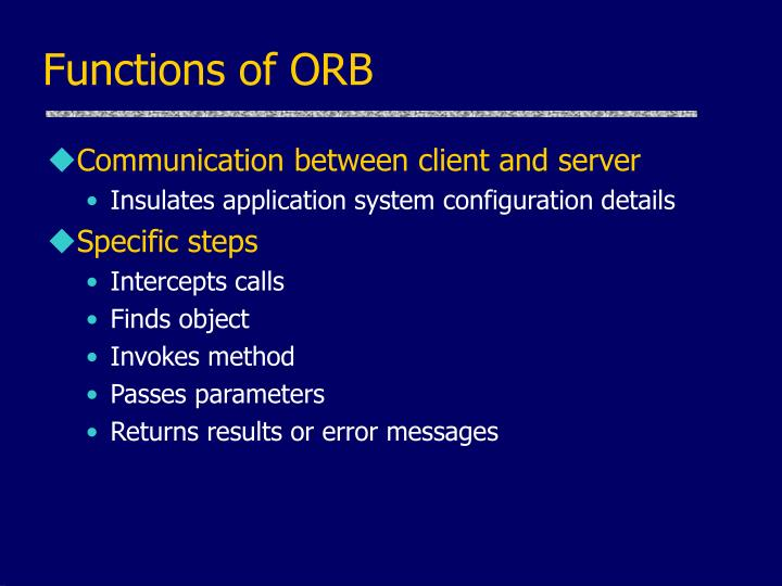 Functions of ORB