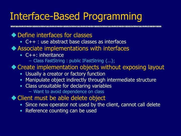 Interface-Based Programming