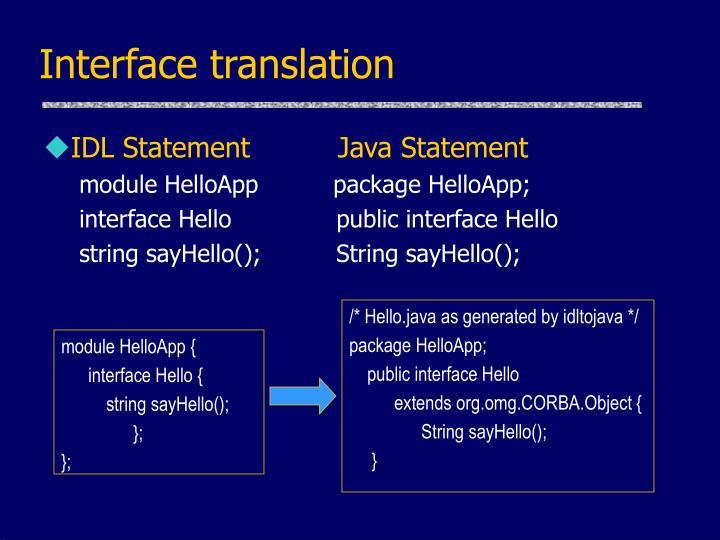 Interface translation