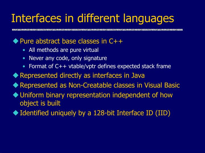 Interfaces in different languages