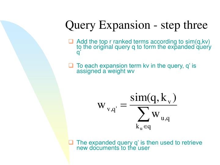 Query Expansion - step three