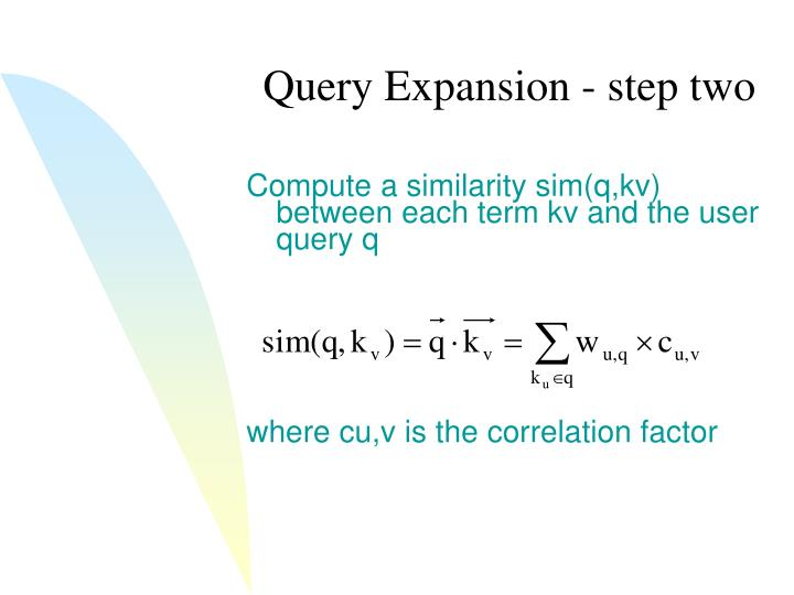 Query Expansion - step two