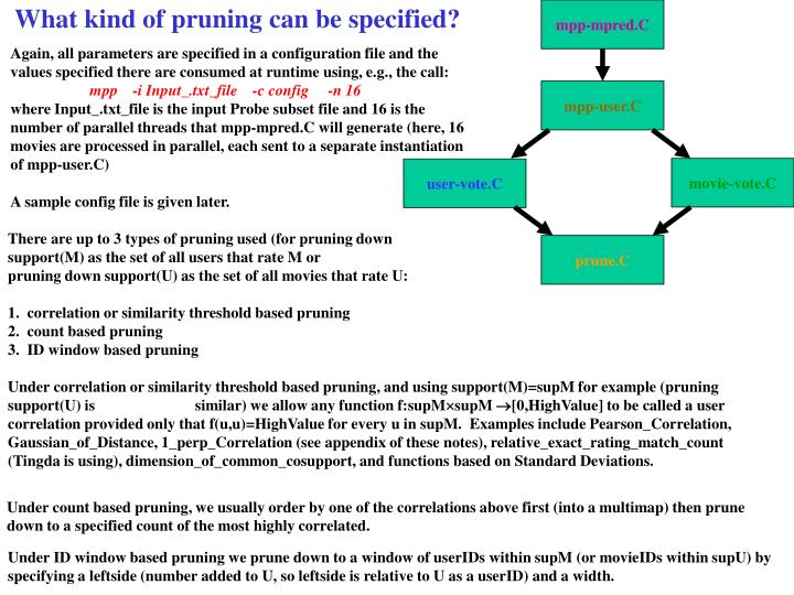 What kind of pruning can be specified?