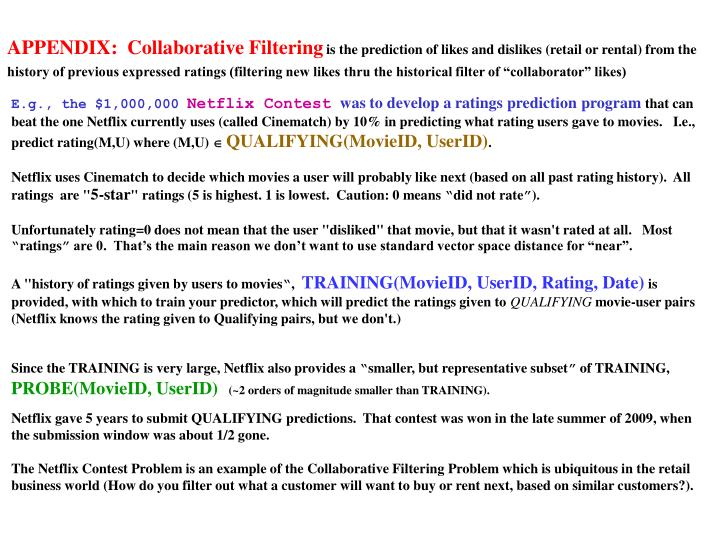 APPENDIX:  Collaborative Filtering