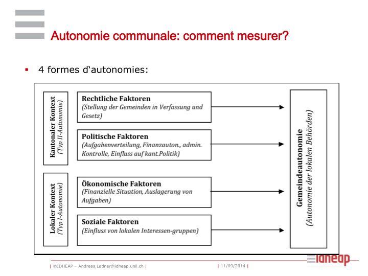 Autonomie communale: comment mesurer?