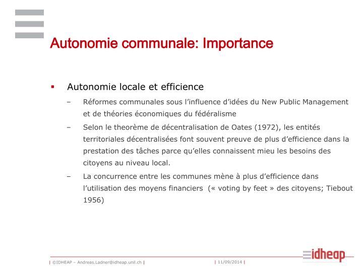 Autonomie communale: Importance